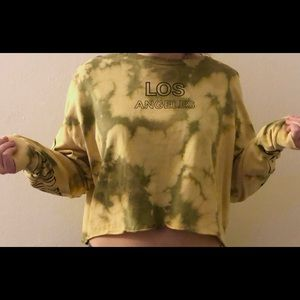 Grunge Bleach Distress Cropped Pullover Sweatshirt
